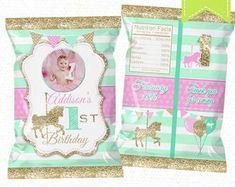 """Carousel Horse Chip Bag Printable, Candy Bag, Chip Bag, Party Bags 