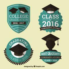 Pack of vintage graduation badges in flat design Free Vector Graduation Logo, Graduation Gifts, Light Bulb Drawing, Shield Design, School Accessories, College Classes, Vintage Logo Design, Stationery Set, Coreldraw