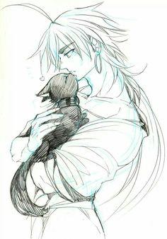 Sinbad and the black cat Magi 3, Sinbad Magi, Magi Adventures Of Sinbad, Magi Kingdom Of Magic, Aladdin Magi, Anime Magi, Cute Couple Drawings, Genesis Evangelion, Girls Anime