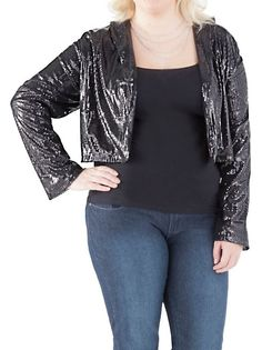 Long Sleeve Sequin Crepe Blazer: over the lace dress w/pockets? def!! #dotsPintoWin