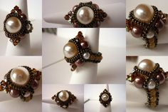 Pearls, Swarovski Crystals, cat's eye stones and seed beads