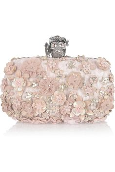 Alexander McQueen | Flower-appliquéd silk-brocade box clutch