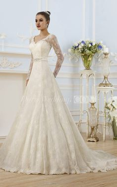 Cheap lace wedding dress, Buy Quality wedding dress directly from China bride dresses Suppliers: Vestido De Noiva Sexy Long Sleeve Lace Wedding Dress 2017 with Sash A Line Wedding Gowns Robe De Mariage Bride Dresses Casamento Pastel Wedding Dresses, Lace Beach Wedding Dress, V Neck Wedding Dress, 2015 Wedding Dresses, Cheap Wedding Dress, Bridal Dresses, Lace Dress, Wedding Gown A Line, Beaded Wedding Gowns
