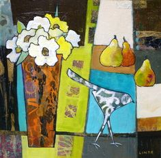 "A Little Bird Told Me by Linda Bell, Acrylic Collage, 16"" x 16"", Black Front Loaded Frame 