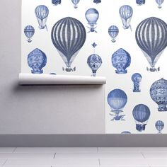 Balloons Wallpaper - Blue And White By Peacoquettedesigns - Blue White Custom Printed Removable Self Adhesive Wallpaper Roll by Spoonflower Room Wallpaper, Wallpaper Roll, Peel And Stick Wallpaper, Kids Room Paint, Kids Rooms, Baby Rooms, Air Balloon, Balloons, Brick Pattern Wallpaper