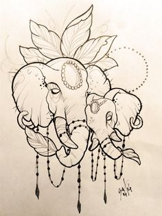 Excellent simple ideas for your inspiration Cool Art Drawings, Art Drawings Sketches, Tattoo Sketches, Animal Drawings, Tattoo Drawings, Body Art Tattoos, Graffiti Tattoo, Elephant Tattoo Design, Elephant Tattoos