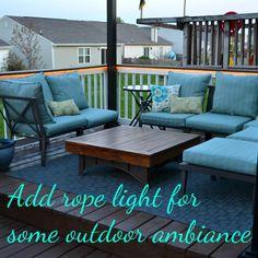 Outdoor deck lighting using rope lights