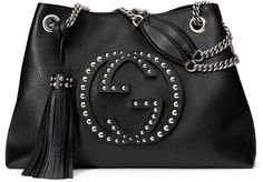 Soho Chain-Strap Studded Leather Shoulder Bag, Black by Gucci at Neiman Marcus. Gucci Shoulder Bag, Black Shoulder Bag, Chain Shoulder Bag, Shoulder Handbags, Leather Shoulder Bag, Shoulder Bags, Shoulder Straps, Black Leather Handbags, Studded Leather