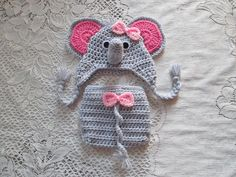 Crochet Baby Elephant Hat and Diaper Cover by BusterBrowns
