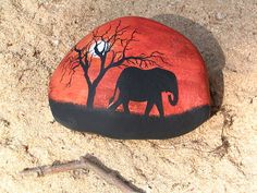 elephant silhouette painted rock