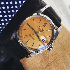 """""""Incredibly beautiful Rolex 6605 Ovettone in Stainless with WG millerighe bezel circa Ok.all that blah blah aside. Look at this dial! Rolex Datejust, Vintage Watches, That Look, Instagram Posts, Accessories, Beautiful, Watches, Ornament"""