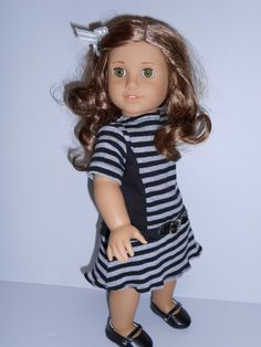 Dress black grey stripes with belt for von DeColoresDollFashion, $14,00