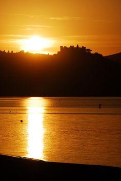 Lake Bracciano - the castle at sunset., The Orsini-Odescalchi Castle in Bracciano, province of Rome , Lazio region Italy