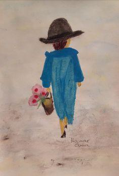 Kék kabátos hölgy. Akvarell, papír.
