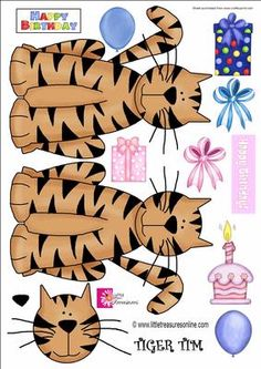 TIGER TIM on Craftsuprint designed by Val Ramon - GRRRREAT GRAPHICS OF A TIGER, USE HIM SINGLY ON A CARD, OR USE BOTH BACK AND FRONT OF A FOLDED CARD - Now available for download!