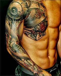 arm sleeve chest tattoo robot underneath