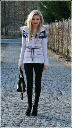 winter outfit - love the fairisle cardigan!
