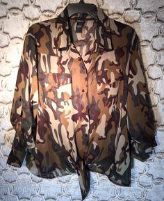 d857e569129 Torrid Womens Plus Size 1 1X 14 16 camo Camouflage Sheer Chiffon Tie Front  Shirt