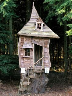 What a cool tree house on a stump