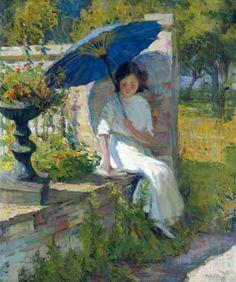 The Blue Parasol. Mary Bradish Titcomb (American, 1858-1927).: