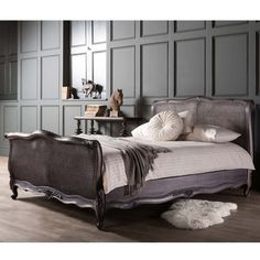 Frank Hudson French Rattan bed in Charcoal