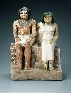 Painted limestone seated pair statue. Old Kingdom. 5th dynasty. 2465–2323 B.C. | Museum of Fine Arts, Boston