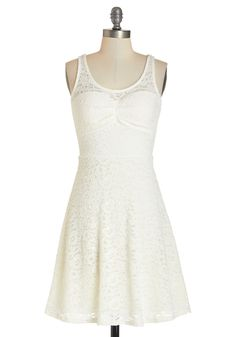 Pretty Up and At 'Em Dress. Being an early-riser is all the lovelier when you use the quiet morning moments to style this ivory dress. #white #modcloth