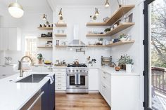 Inspirational Two-tone Kitchen in Historic Grant Park – Semihandmade Two Tone Kitchen Cabinets, Contemporary Kitchen Cabinets, Floating Shelf Decor, Floating Shelves Kitchen, Shaker Kitchen, Kitchen Island, Navy Kitchen, Kitchen Colour Combination, Off White Kitchens
