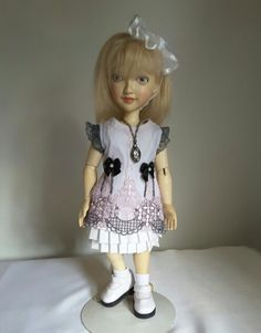 """12"""" Xenis Wooden Doll Wears Skirt from Adult Blouse"""