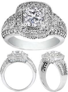 Cushion Diamond Halo Engagement Ring 0.60 tcw. In 14K White Gold