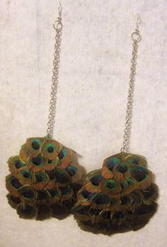 Peacock feather earrings by roniscreations on Etsy, $25.00
