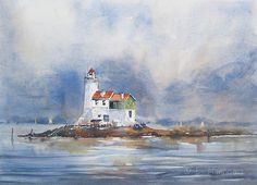 Visit the post for more. Watercolor Painting Techniques, Watercolor Artists, Watercolour Painting, Pen And Watercolor, Watercolor Landscape, Landscape Art, Lighthouse Painting, Images Vintage, A Level Art