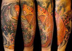 coy fish color arm tattoos | ... : Tattoos : Mathew Clarke : Full color Koi fish half sleeve tattoo