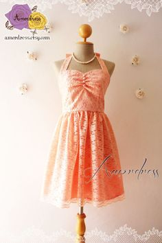 Lace Dress Old Rose Peach Bridesmaid Dress Vintage by Amordress, $59.00