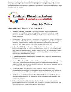 Kokilaben dhirubhai ambani hospital (kdah) by medicure medical travels