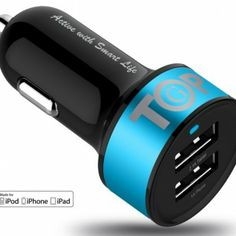 cool TopG Apple Certified – Lifetime Warranty – Dual USB Ports Portable USB Car Charger for iPhone 5 4 4 3 mini,iPad air Battery Power Supply for All Apple Device (Lightning Cable/Adapter Not Included)- Premium MFI Quality (Black+Ocean Blue) Car Accessories, Cell Phone Accessories, V Max, Lg G5, Windows Phone, Ipad Mini, Ipad 4, Car Audio, Iphone 5s