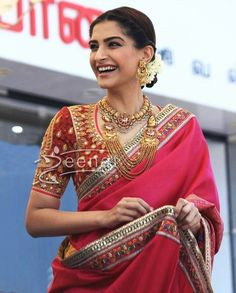 Sonam Kapoor In Aby Jani Sandeep Khosla Saree Indian Attire, Indian Wear, Sonam Kapoor, Deepika Padukone, Indian Dresses, Indian Outfits, Indian Bridal Hairstyles, Wedding Hairstyles, Indian Couture