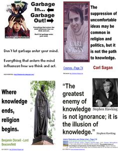 The greatest enemy of knowledge is not ignorance; it is the illusion of knowledge - Stephen Hawking, Sagan, Disraeli, garbage ... .GIF
