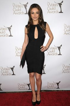 Mila attended the 2010 Writers Guild Awards in a sleek black Herve Leger dress with a keyhole cutout. via @stylelist