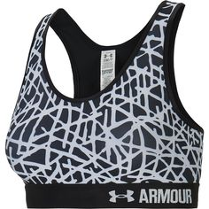 Jazzed up with a fun-to-show-off print, the Under Armour women's Armour mid compression-fit sports bra keeps everything locked down during medium-impact workouts. The smooth, double-layer HeatGear fabric wicks sweat away to ensure dryness through it all, while just the right amount of stretch and a racerback design provide full freedom of movement. The soft elastic band delivers support where it's needed.