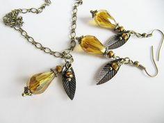 Crystal necklace, jewelry, dangle earrings, drop earrings, set, crystal earrings, Europe, women, gift for her