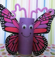 14 homemade butterfly craft http://hative.com/homemade-animal-toilet-paper-roll-crafts/