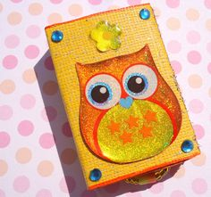 Orange Owl Match box keepsake jewelry box by PrettyPaperMusings