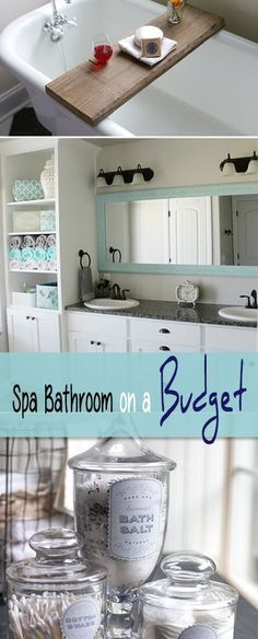 Spa Bathroom on a Budget Spa Bathroom on a Budget DIY projects and advice for turning your boring bath into a spa like retreat, on a budget!Spa Bathroom on a Budget DIY projects and advice for turning your boring bath into a spa like retreat, on a budget! Bathroom Spa, Diy Bathroom Decor, Budget Bathroom, Small Bathroom, Bathroom Ideas, Bathroom Organization, Organized Bathroom, Design Bathroom, Remodel Bathroom