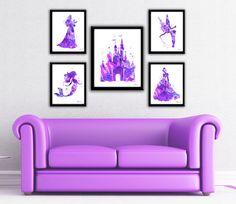 Purple Princess print, Disney princess, purple princess set,Princess watercolor art, castle,Cinderella silhouette, Little Mermaid,Tinkerbell