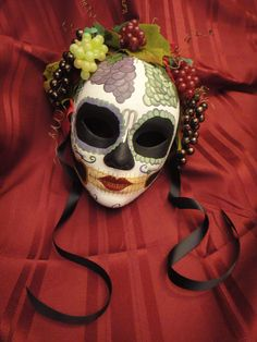 Vino Goddess  Day of the Dead Mask  Grape by HikariDesign on Etsy, $98.00
