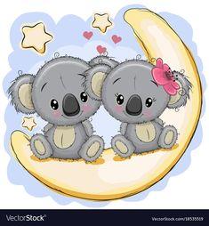 koala tattoo - Two cute koalas is sitting on the moon vector image on Cartoon Cartoon, Moon Cartoon, Cute Cartoon Drawings, Cute Cartoon Girl, Baby Koala, Koala Tattoo, Koala Illustration, Moon Vector, Pandas
