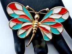 Dragonfly Enamel Figural Orange Turquoise White Vintage Estate Brooch | eBay