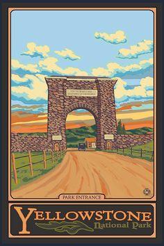 Park Entrance  Yellowstone National Park Art by NightingaleArtwork