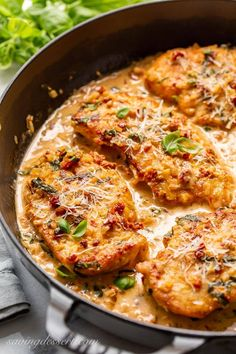 Skillet Chicken with Sun-Dried Tomato Cream Sauce - enjoy this tender and flavorful chicken in a rich sauce with sun-dried tomatoes, shallots, garlic, white wine, fresh basil and plenty of Parmesan #skilletchicken #sundriedtomatosauce #chickenwithsundriedtomatoes #chickenwithsundriedtomatocreamsauce #chickencutlets #dinner #sundriedtomatoes #companyworthymeal Sun Dried Tomato Sauce, Tomato Cream Sauces, Dried Tomatoes, Chicken Gorgonzola, Sundried Tomato Chicken, Chicken Flavors, Chicken Recipes, White Wine Chicken, Chicken Cutlets